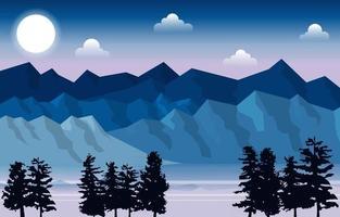Mountain Peak Pine Fir Trees Nature Landscape Adventure Illustration vector