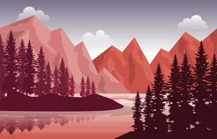 Peaceful Mountain Lake River Pine Tree Nature Landscape Illustration vector