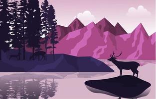 Peaceful Mountain Lake Deer Pine Trees Nature Landscape Illustration vector