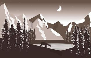 Night Mountain Peak Pine Trees Nature Landscape Adventure Illustration vector