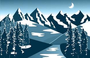 Winter Snow Mountain Peak Pine Nature Landscape Adventure Illustration vector
