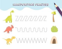 Handwriting practice for preschool children. Tracing lines with colorful dinosaurs. Educational kids game. Worksheet for kids vector