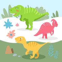Set of cute carnivorous and herbivorous dinosaurs on the background of nature. Vector illustration in cartoon style for kids