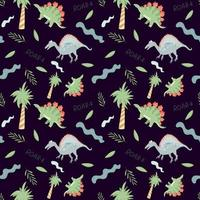 Seamless pattern with cute dinosaurs and trees on a dark background. Vector endless texture with cartoon style for childish design
