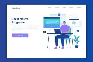 React native programmer illustration landing page concept vector