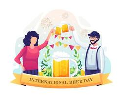 A couple celebrating International beer day with a beer toast. vector illustration