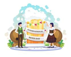 People Celebrate International Beer Day with a giant beer. vector illustration