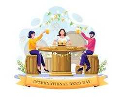 People drinking beer in a bar to celebrate International Beer day. vector illustration