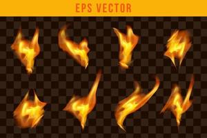 Fire set realistic effect eps vector editable glow shine fires isolated object