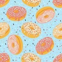 Sweet donuts seamless pattern in glaze and sprinkles vector