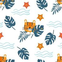 Seamless sea pattern cute cartoon character tiger among exotic foliage. Children's vector illustration.