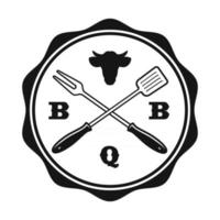 a vintage BBQ label vector