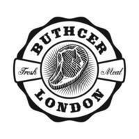 A vintage butcher shop emblem vector