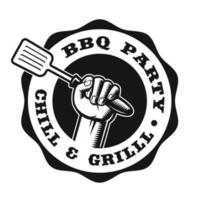 A black and white vintage badge for a BBQ vector