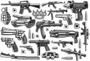 un paquete de diferentes armas vectoriales vector