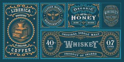 A set of vintage labels vector