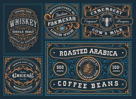 A set of different labels in retro style vector