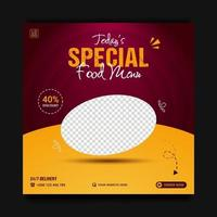 Modern special food menu promotion social media banner template, sale and discount background. vector illustration.