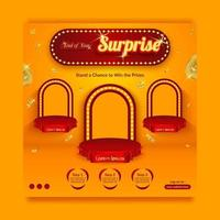 Plantilla de banner de redes sociales de invitación de concurso sorpresa de fin de año con salpicaduras de oro vector