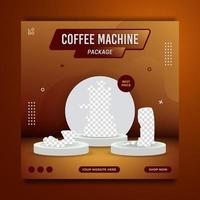 Coffee machine package promotion social media post banner template, sale and discount background, vector illustration.