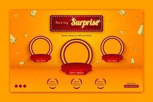 Plantilla de banner horizontal de invitación de concurso sorpresa de fin de año con salpicaduras de oro vector