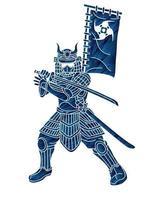Samurai Warrior Action Graphic Vector