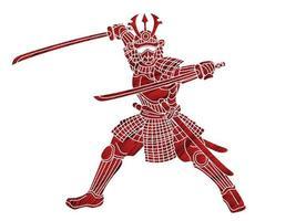 Silhouette Samurai Warrior Action Graphic Vector