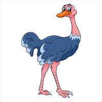 Animal character funny ostrich in cartoon style vector