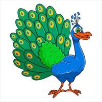 Animal character funny peacock in cartoon style vector
