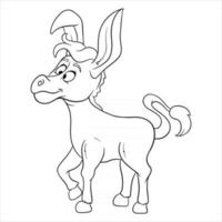 Animal character funny donkey in line style coloring book vector