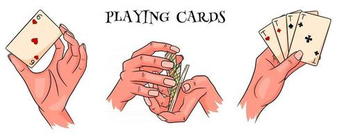 Gambling. Playing cards in hand. Casino, fortune, luck. Big set. Cartoon style. vector