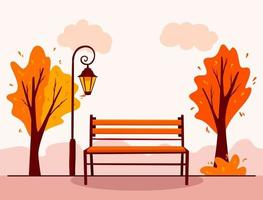 Autumn landscape. Background. City Park. Park bench, lantern. vector