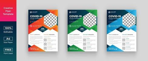 Covid-19 conference flyer template, Covid-19 flyer or poster vector