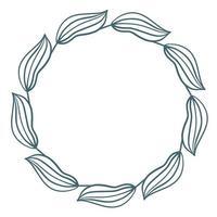 Simple circular blue leaf frame vector illustration