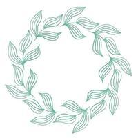 Green round frame of leaves vector illustration