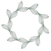 Botanical graceful circular frame of leaves vector illustration
