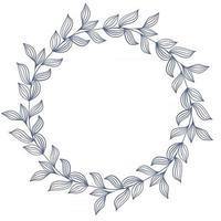 Elegant circular blue frame made of leaves vector illustration