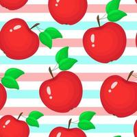 Red apples on a striped background vector illustration