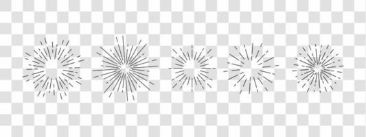 Set of Vintage Sunbursts in Different Shapes. Hipster Hand Drawn Retro Bursting Rays Design Elements. vector