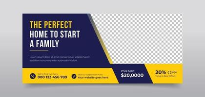 Real estate agency social media cover vector