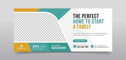 Real estate agency home sale social media cover vector
