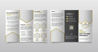 Real estate business trifold brochure template design vector