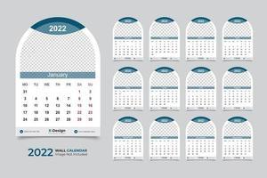 2022 wall calendar template vector