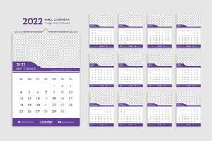 2022 modern wall calendar layout template, date planner, yearly planner, events calendar vector