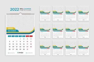 2022 wall calendar template, desk calendar, events calendar, desk calendar vector