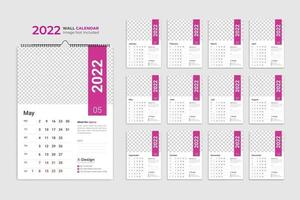 Calendar template for 2022 year, corporate and business date planner calendar vector