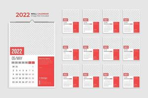 2022 wall calendar template, yearly business schedule planner, events calendar, desk calendar vector
