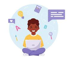 African american boy studying with computer. Online learning, back to school concept. vector