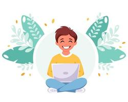 Boy studying with computer. Online learning, back to school concept. vector