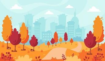 Parque de otoño en el fondo de la ciudad. paisaje de otoño. vector
